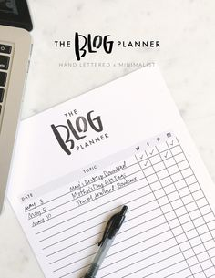 The Blog Planner | Minimalist agenda with a hand lettered touch. Perfect for blog and social media organization.