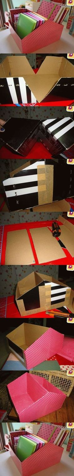 DIY File Organier from Shoe Box                                                                                                                                                     Mais