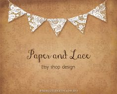 Etsy banners set - Lace bunting on faded damask paper - Etsy shop banner and avatar by Kerguelen # 170913