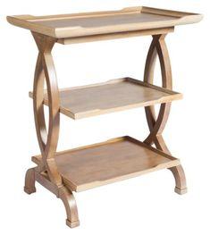 Julia 3-Shelf Side Table, Driftwood $395.00