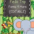 Field trip prep just got easier!  These editable zoo/jungle themed field trip forms  more are perfect for planning and organizing a field trip...