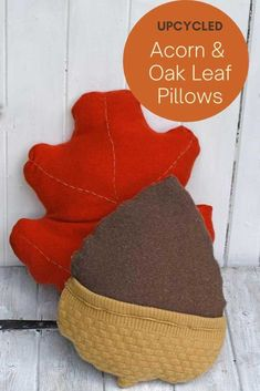 A fun upcycle to make DIY sweater pillows in the shape of acorns and an oak leaf. An affordable easy way to create some lovely fall decor for your couch. #diypillows #fallpillows Sweater Pillow, Old Sweater, Upcycled Sweater, Sweaters, Fall Pillows, Diy Pillows, Sewing Patterns Free, Free Sewing, Pattern Sewing