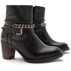 JJ Footwear Black Plus Size Chain detail ankle boots (110 CAD) ❤ liked on Polyvore featuring shoes, boots, ankle booties, black, plus size, black booties, black boots, chunky black boots, leather booties and short boots