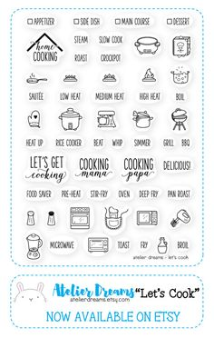 LET'S COOK - Planner Stamps (Photopolymer Clear Stamps) organic stamps, vegetable stamp, pineapple stamp