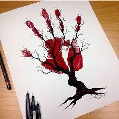 #Draw #desenhos #desenhando #art #arte #artista #desenhos #drawing #mao #sangue #arvore #vida ...
