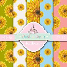 Sunflowers - Instant Download - Digital Paper - Scrapbook Paper - Digital…