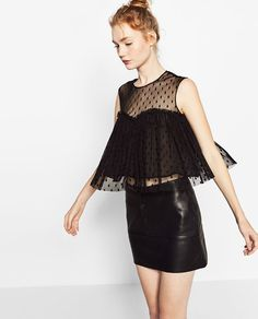 Image 3 of TULLE AND PLUMETIS TOP from Zara $12.99