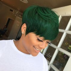 10 Trendy Pixie Haircuts and Color 2021 | Women Very Short Hairstyle Ideas for Summer Short Green Hair, Dark Green Hair, Short Sassy Hair, Green Hair Colors, Very Short Hair, Short Hair Cuts, Short Hair Styles, Blonde Pixie Cuts, Pixie Styles