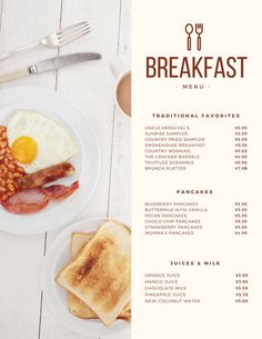 Use this customizable Modern Continental Breakfast Menu template and find more professional designs from Canva. Breakfast Restaurants, Breakfast Menu, Brunch Menu, Healthy Breakfast Smoothies, Carta Restaurant, Restaurant Menu Template, Restaurant Menu Design, Restaurant Identity, Cafe Menu Design