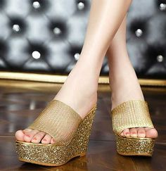 4a9185dc29e855 Price tracker and history of Women S High-Heeled Rhinestone Thick Crust  Muffin Shoes Summer Platform Hit Color Gold Silver Slippers Wedges Flop  Flips
