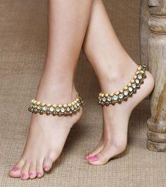 Multicolored 22 Carat Gold Plated Kundan Designer Anklets # Aradhyaa # designer # jewellery # Anklets # kundan jewellery# shop at www.jivaana.com