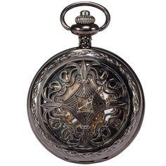 AMPM24 Steampunk Black Copper Case Skeleton Mechanical Pendant Pocket Watch Fob WPK167 $20