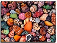 Holly Kitaura The bright colours exhibited in this piece could be recreated using drawing inks, tissue paper and/or collage to produce illustrative, spontaneous images. Seashell Painting, Ink Painting, Painting Prints, Paintings, Sky Sunset, Shell Art, Decoration, Art Lessons, Rock Art