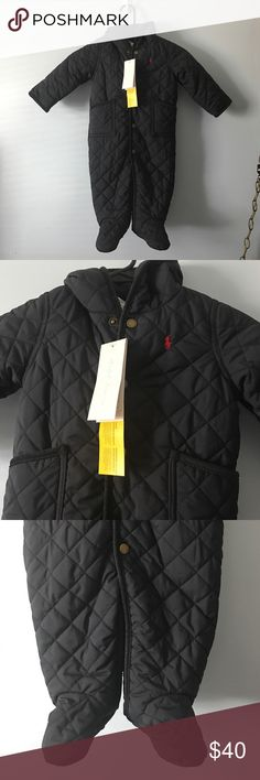 9M Ralph Lauren Baby Snowsuit Brand new with tags 9 month snowsuit! So cute and soft and plush. Hood and pockets and buttons. Dark navy color Ralph Lauren One Pieces Bodysuits