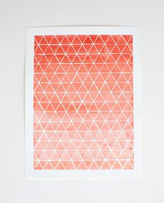 Ombre watercolor PRINT - kitchen - office - nursery - artwork - coral - orange - pink