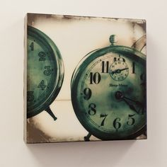 Sleep Meter Blue 10x10 - archival photographic print, of antique alarm clocks, mounted on board, and coated in beautiful resin. On Etsy, $180.00