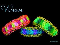 Rainbow Loom WEAVE Bracelet. Designed and loomed by Loom Love. Click photo for YouTube tutorial.