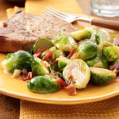 Caramelized Onion and Crisp Bacon Brussels Sprouts.