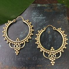 Wisteria Brass #Earrings  Golden #Festival Tribal Boho by OpulentOre