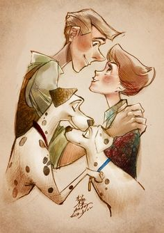 101 Dalmatians Roger & Anita Pongo & Perdita Dalmatians wasn't my favorite Disney movie, but I am loving this picture! Disney Pixar, Disney Fan Art, Disney Amor, Gif Disney, Disney Artwork, Disney Rapunzel, Disney And Dreamworks, Disney Drawings, Disney Magic