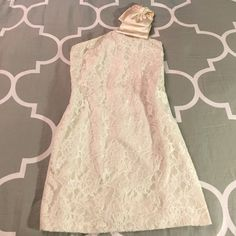 Aqua Lace One Shoulder Bow Dress Aqua Ivory Lace One Shoulder Bow Dress. Worn for my engagement party but can be worn for Any occasion. Vintage look with Lace detail and a Modern feel with Bow draping over shoulder. Fits like a Shift Dress. Very Comfortable. Aqua Dresses Mini