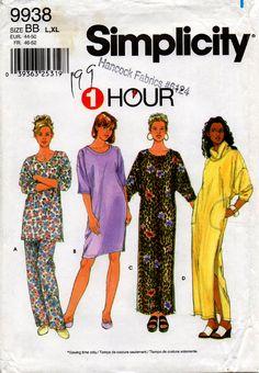 Uncut Simplicity 9938 Misses PJs NIGHTGOWN NIGHTSHIRT Pajamas Lounge Dress  Pattern Size Large 07ca4ecfe
