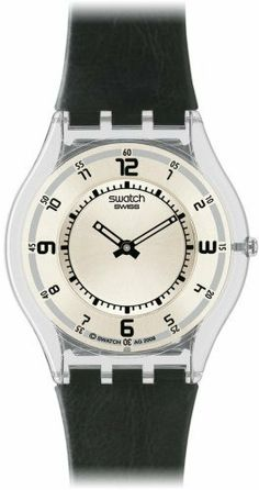 Swatch Men's Skin Morrow of Life- Black Leather Quartz Watch with Silver Dial #SFM111 Swatch. $96.02