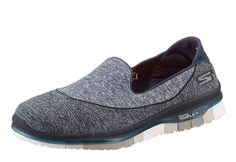 #SKECHERS #Damen #Slipper, #»GO #FLEX« #blau #/ #grau - Skechers Slipper aus Textil, Schuhweite: normal (Weite F).