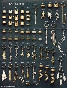 I don't have pierced ears, but I like non-piercing ear cuffs. Ear Jewelry, Cute Jewelry, Body Jewelry, Jewelery, Jewelry Accessories, Jewelry Design, Cute Ear Piercings, Tattoo Und Piercing, Men Accessories