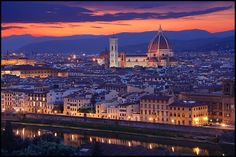 Florence, Italy Skyline, taken from Piazzale Michelangelo, with the Duomo di Santa Maria del Fiore in the center of the photo;  photo by nabilishes, via Flickr.
