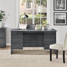 Ameriwood Home Presley Executive Desk, Weathered Oak Home Office Desks, Home Office Furniture, Office Decor, Floating Desk, Best Desk, Small Furniture, Joy Furniture, Urban Furniture, Cheap Furniture