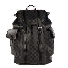 This authenticLOUIS VUITTON Damier Graphite Christopher PM. This superb backpack is crafted of Louis Vuitton signature damier check canvas.