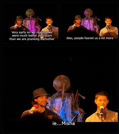 Poor Misha <-- When I hear about Jaren and Jensen pranking each other I can't help but wonder if the one episode where Sam and Dean are playing pranks on each other was born out of that