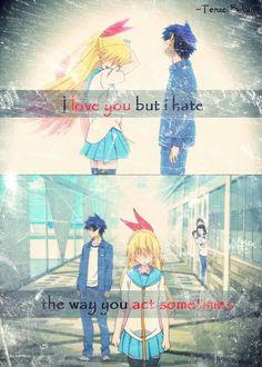 || Te quiero (Te amo) pero odio la manera en la que te comportas a veces. | Traducción ES: @sukigamer88 || Nisekoi, Sad Anime Quotes, Manga Quotes, Cute Anime Pics, Anime Love, Anime Rules, Anime People, Strong Quotes, Anime Shows