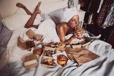 Sex and Takeout, a photo series by Australian photographer Sarah Bahbah. Sarah Bahbah has actually started her professional career as a festival and music Breakfast In Bed, Photo Series, Take Out, Body Image, Junk Food, Fett, Paros, Editorial Fashion, Fashion Photography
