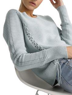 Cotton Hand Woven Detail Crewneck