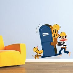 Now you have easy and creative way to add personality and creativity to your kids rooms! Paul Frank Wall Art is the latest trend in interior decorating and home decor.This modern wall decal features Julius the monkey, Clancy the Giraffe and Worry the bear in a mailbox.$89.99