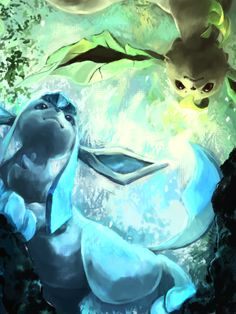 Glaceon and Leafeon- love the perspective of the artwork <3