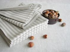Linen/cotton fabric napkins set of 6.  These striped napkins will give playfulness for your table serving. Rustic and soft.   Each day kitchen table