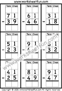 2 Digit Borrow Subtraction – Regrouping – 4 Worksheets