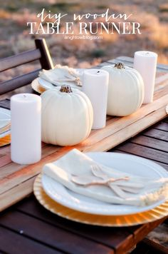 Create a DIY Wooden Table Runner for a beautiful and unique centerpiece this holiday season! Diy Thanksgiving Centerpieces, Unique Centerpieces, Rustic Table, Wooden Tables, Diy Table, Diy Home Decor Projects, Diy Wood Projects, Decor Ideas, Best Thanksgiving Recipes
