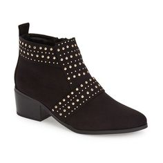 """Topshop 'Buddy' Studded Bootie, 1 3/4"""" heel (120 BAM) ❤ liked on Polyvore featuring shoes, boots, ankle booties, ankle boots, black, stacked heel booties, black bootie boots, black ankle bootie and short black boots"""