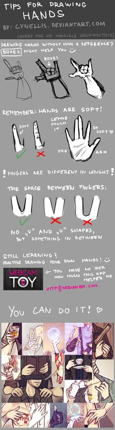TIPS FOR DRAWING HANDS by http://cynellis.deviantart.com on @deviantART . Sketch…