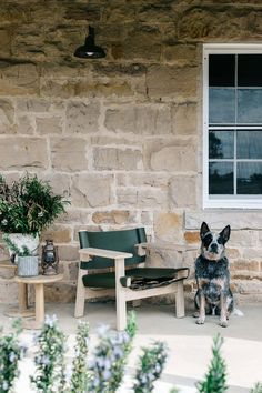 Mate, the Blue Heeler, sits on the verandah of the sandstone cottage in the Blue Mountains where Edwina Bartholomew escapes from the hustle and bustle of the city Australia House, Modern Townhouse, Retro Caravan, Farm Cottage, Victorian Flowers, Art Deco Home, Industrial House, Blue Mountain, Photographing Babies