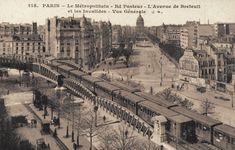 Belle vue du Métropolitain en surface, aux boulevard Pasteur, avenue de Breteuil et les Invalides plus loin (vieille carte postale, vers 1910)