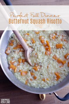 Butternut Squash Risotto Recipe, a delicious vegetarian dinner. HandmadeintheHeartland.com