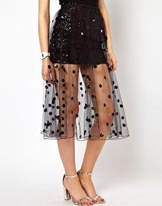Ashish Net Full Skirt with Polka Dot Sequins