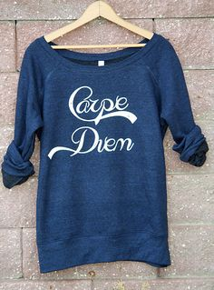 Carpe Diem Wideneck Slouchy Pullover Yoga Top Sizes by WearMeGear Hoodie Sweatshirts, Hoodies, Blazers, Love Fashion, Fashion Outfits, Yoga Tops, Couture, Carpe Diem, Sweater Weather