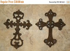 ON SALE TODAY 2pcs Fleur De Lis cast iron cross by WePeddleMetal