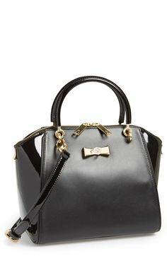 Women's Ted Baker London 'Petra - Crystal Bow' Small Leather Tote Black One  Size